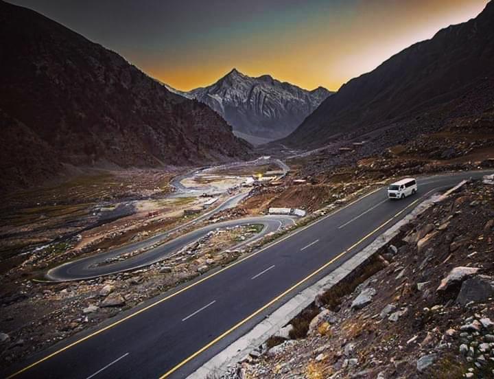 Tiger Peak after sunset  Babusar Road Pakistan